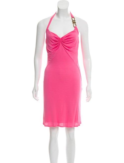 Versace Halter Jersey Dress Neon