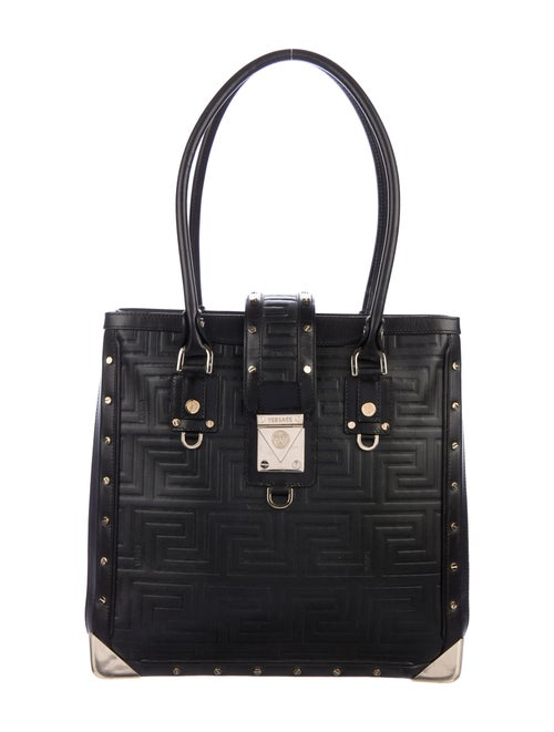 Versace Quilted Leather Tote Tote Black