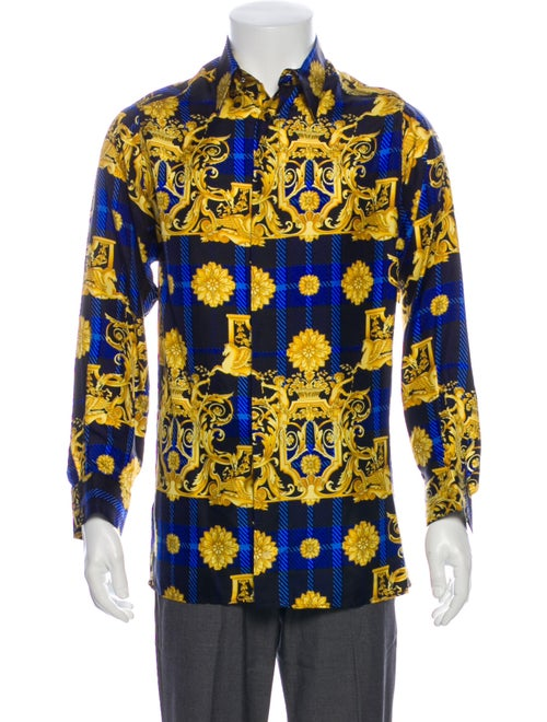 Versace Brocade Print Silk Shirt Blue