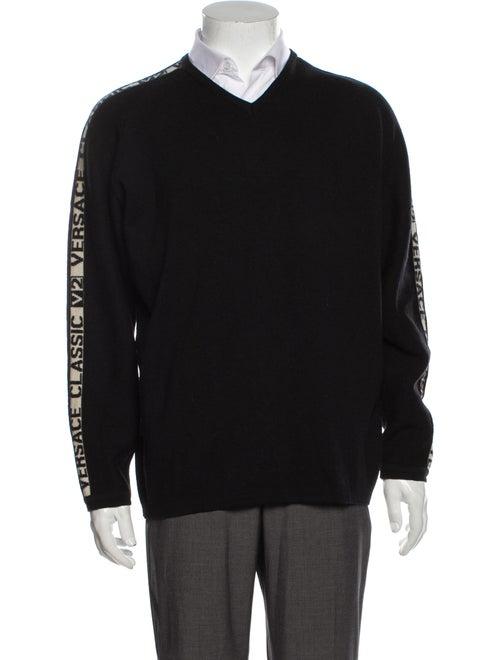 Versace Merino Wool Graphic Print Pullover Wool