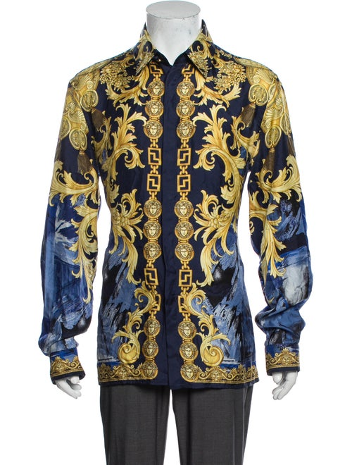 Versace Silk Printed Shirt Blue