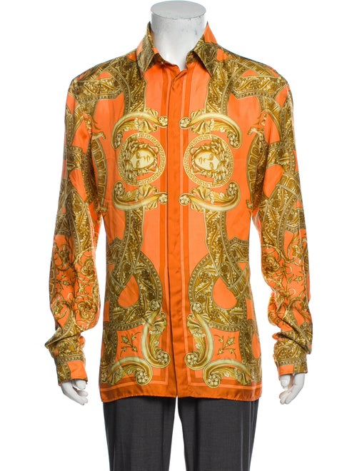Versace Silk Printed Shirt Orange