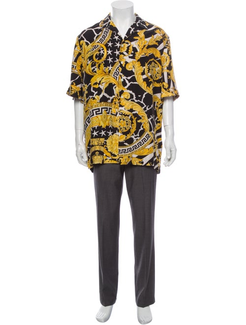 Versace Silk Printed Shirt Black