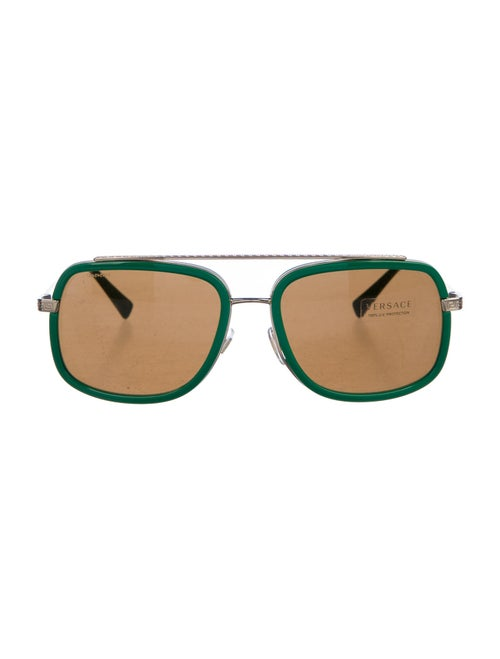 Versace Oversize Mirrored Sunglasses Green