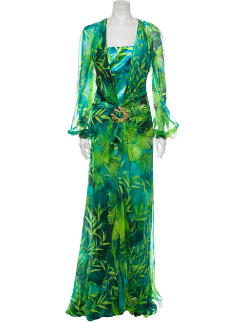 Versace Silk Printed Dress Set w/ Tags Green