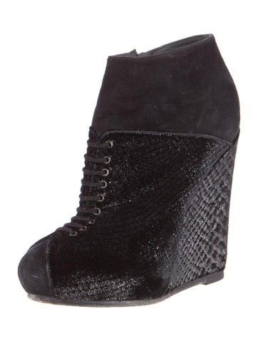 Velvet Wedge Ankle Boots