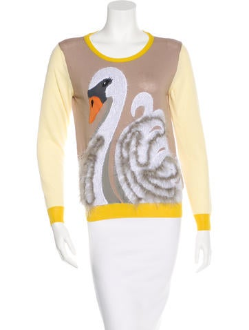 Viktor & Rolf Feather-Trimmed Swan Sweater None