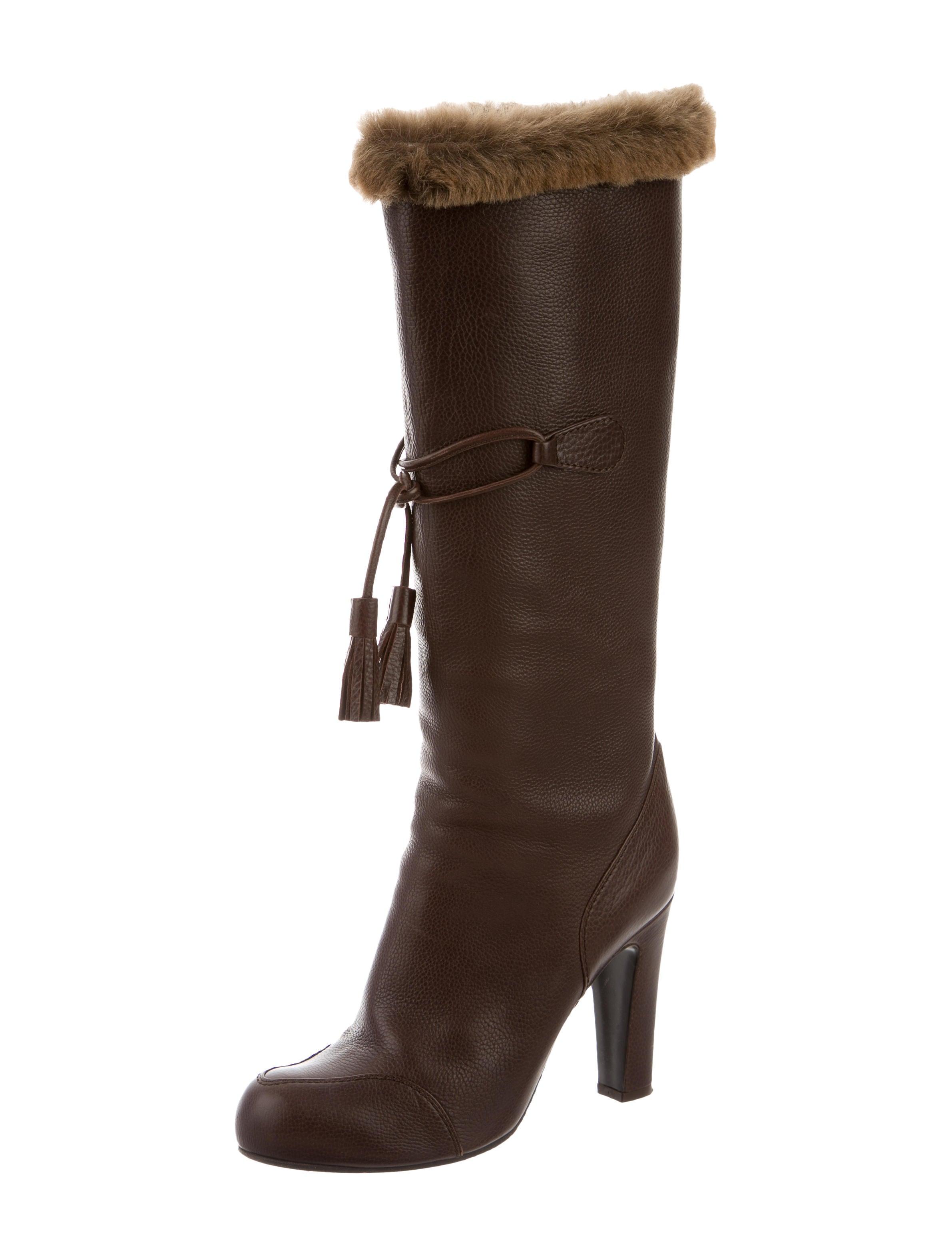 viktor rolf leather fur trimmed boots shoes vik20974 the realreal. Black Bedroom Furniture Sets. Home Design Ideas