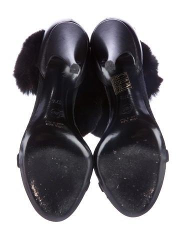 Fur Ankle-Strap Sandals