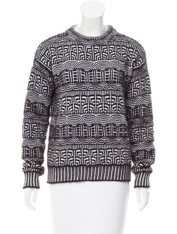 Viktor & Rolf Angora & Wool-Blend Geometric Sweater w/ Tags None