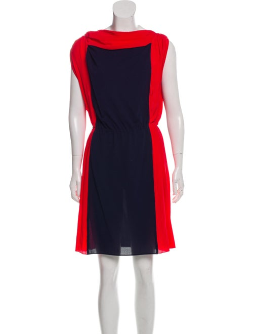 Vionnet Contrast Pleated Dress Navy