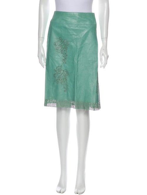 Victor Alfaro Leather Knee-Length Skirt Green