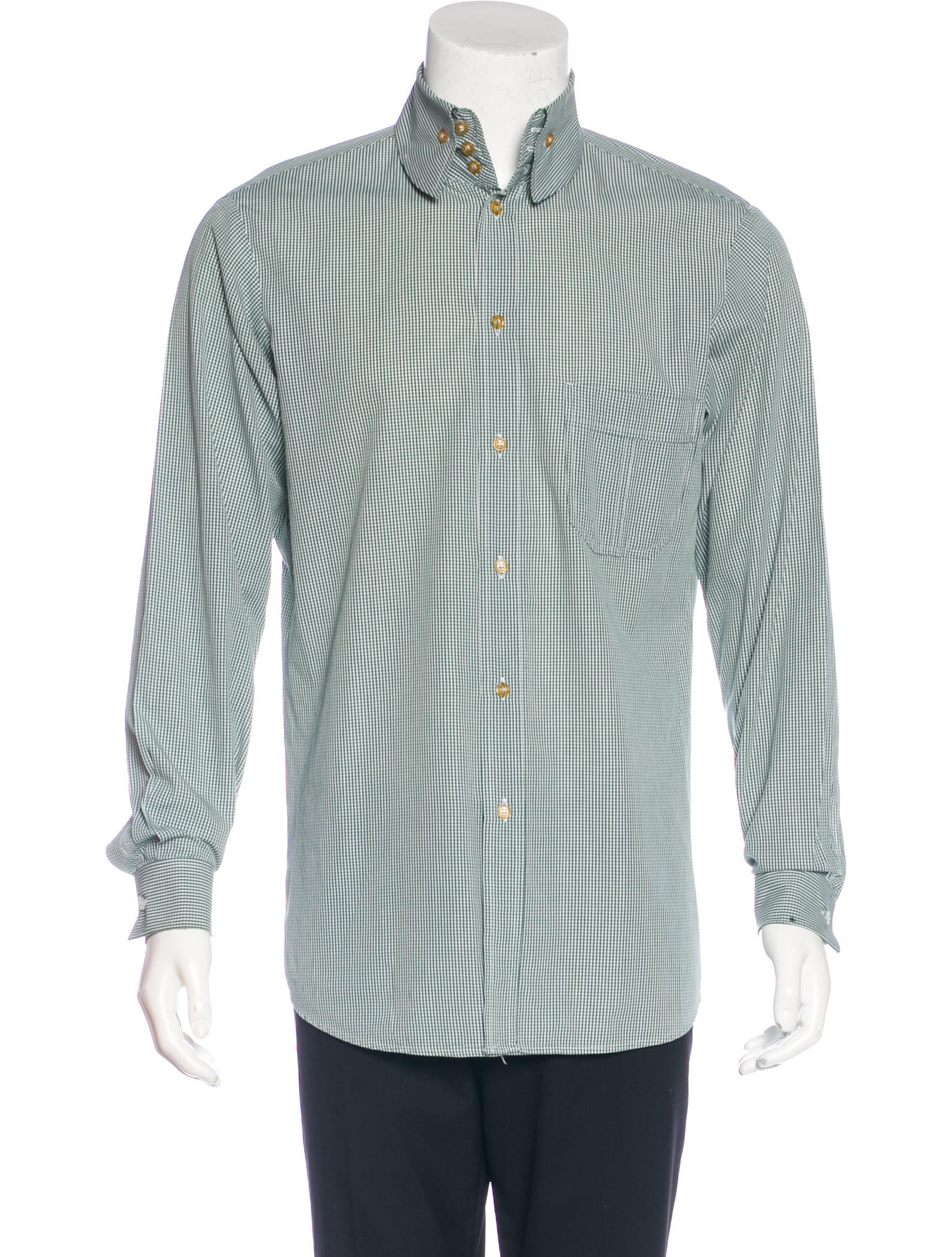 Vivienne westwood gingham french cuff shirt clothing for Mens green gingham dress shirt
