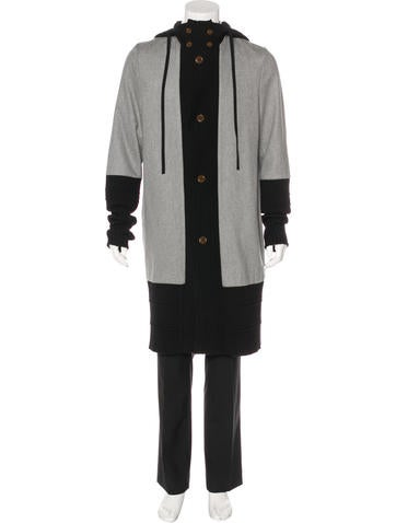 Vivienne Westwood Hooded Rib Knit-Trimmed Coat None