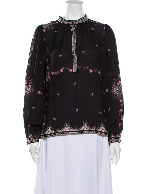 Vilshenko Silk Floral Print Blouse Black
