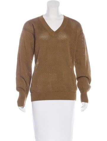 Vanessa Seward V-Neck Rib Knit Sweater None