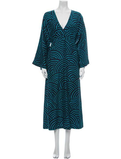 Vanessa Seward Silk Midi Length Dress Blue
