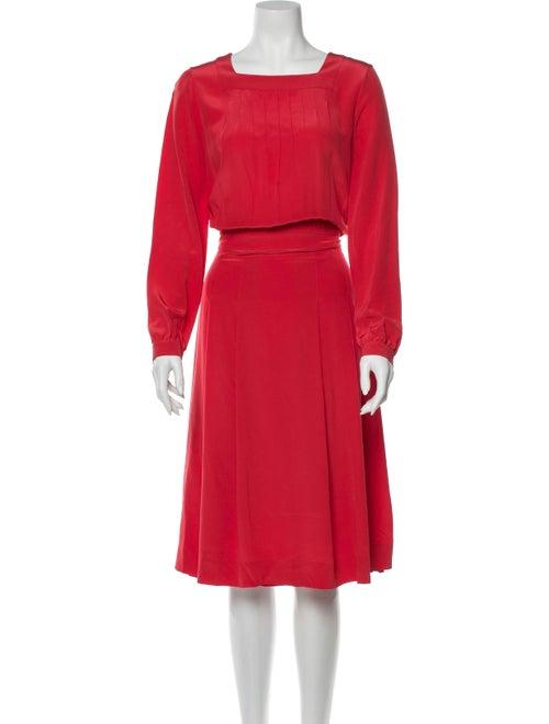Vanessa Seward Silk Midi Length Dress Orange