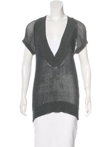 VPL Short Sleeve Open Knit Top None