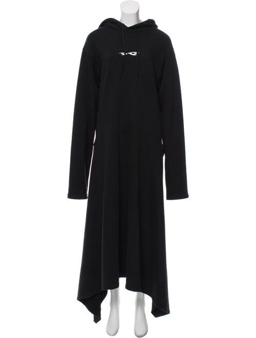 Vetements Eye-Embroidered Hooded Dress Black