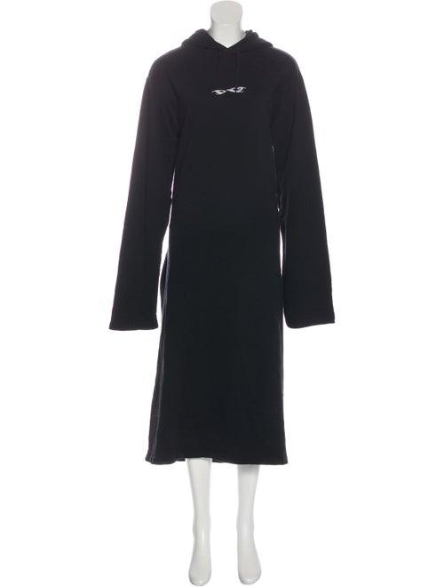 Vetements Hooded Sweatshirt Dress Black