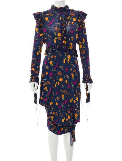 Vetements Printed Maxi Dress Blue