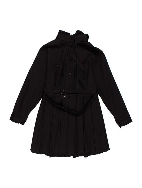 Vetements Pleated Hooded Dress Black