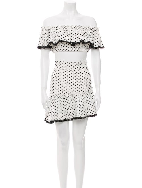 Suboo Linen Polka Dot Print Skirt Set White