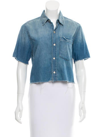 Mother Cropped Denim Top None