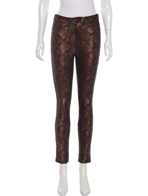 Mother Animal Print Skinny Leg Pants Brown - image 1