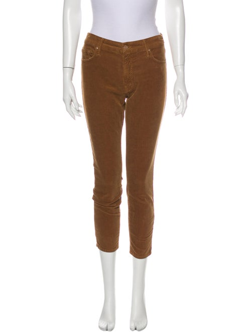 Mother Mid-Rise Skinny Leg Jeans Brown