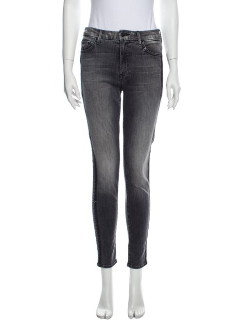 Mother Mid-Rise Skinny Leg Jeans Grey