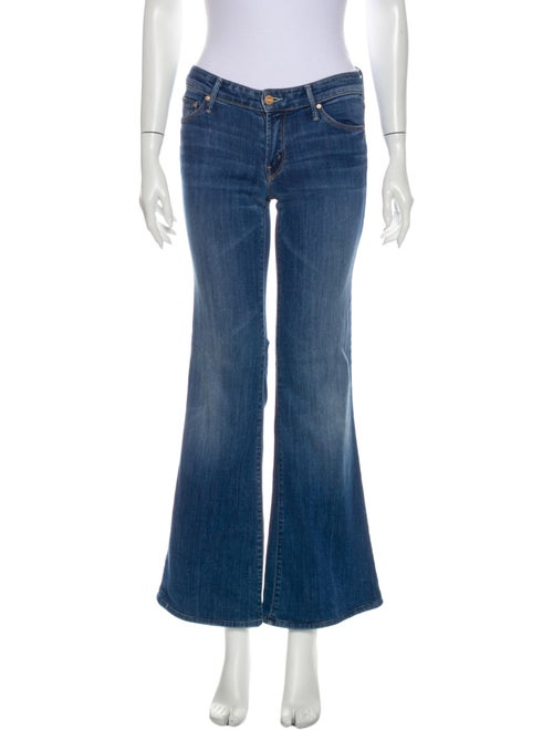 Mother Low-Rise Flared Jeans Blue
