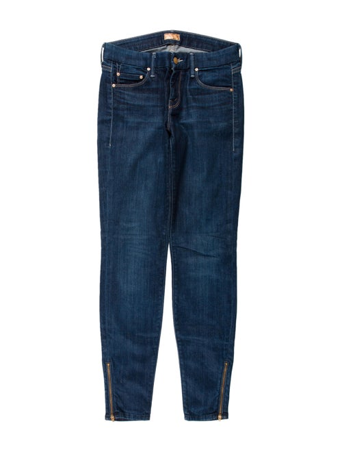 Mother Mid-Rise Skinny Leg Jeans Blue