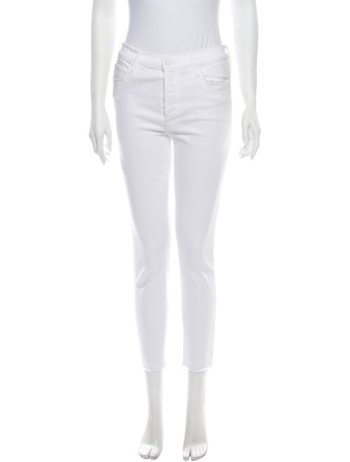 Mother Mid-Rise Skinny Leg Jeans White