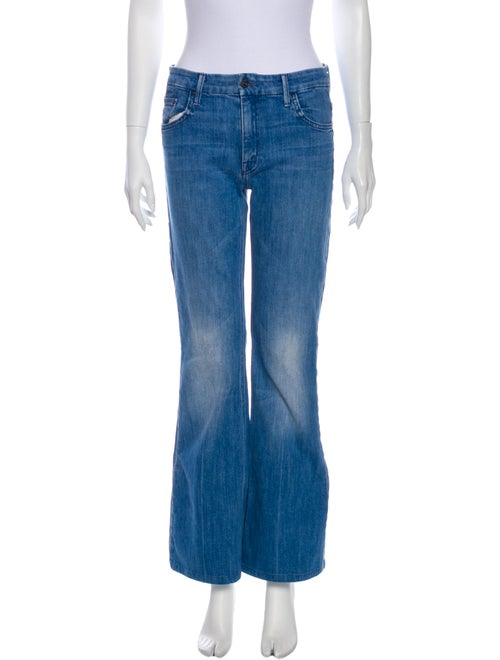 Mother Mid-Rise Flared Jeans Blue