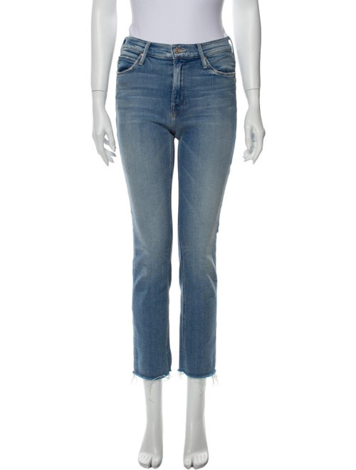 Mother Mid-Rise Straight Leg Jeans Blue