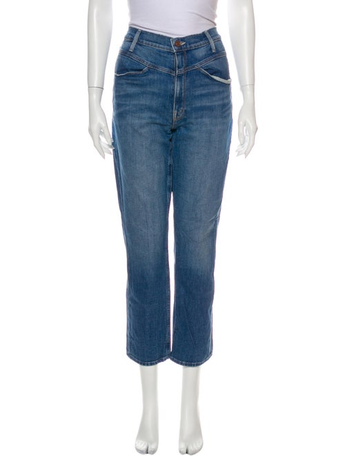 Mother High-Rise Straight Leg Jeans Blue