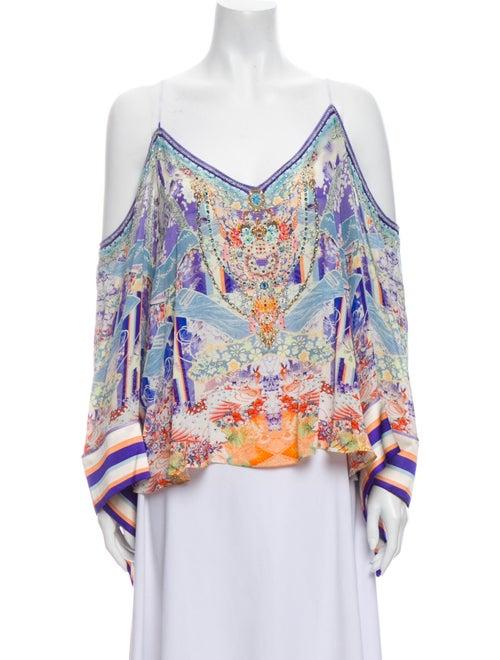 Camilla Silk Printed Blouse w/ Tags White
