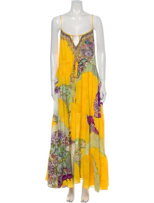 Camilla Printed Long Dress Yellow