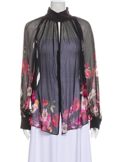 Camilla Silk Floral Print Blouse Black