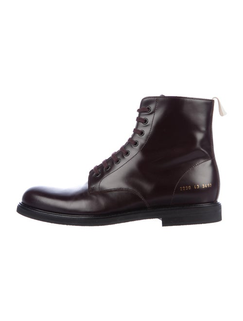 Common Projects Leather Combat Boots Purple