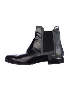Common Projects Leather Colorblock Pattern Chelsea Boots