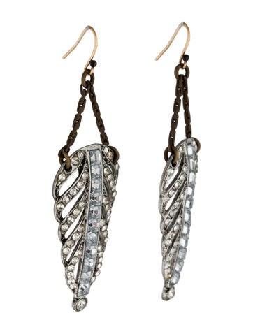 Crystal Feather Drop Earrings