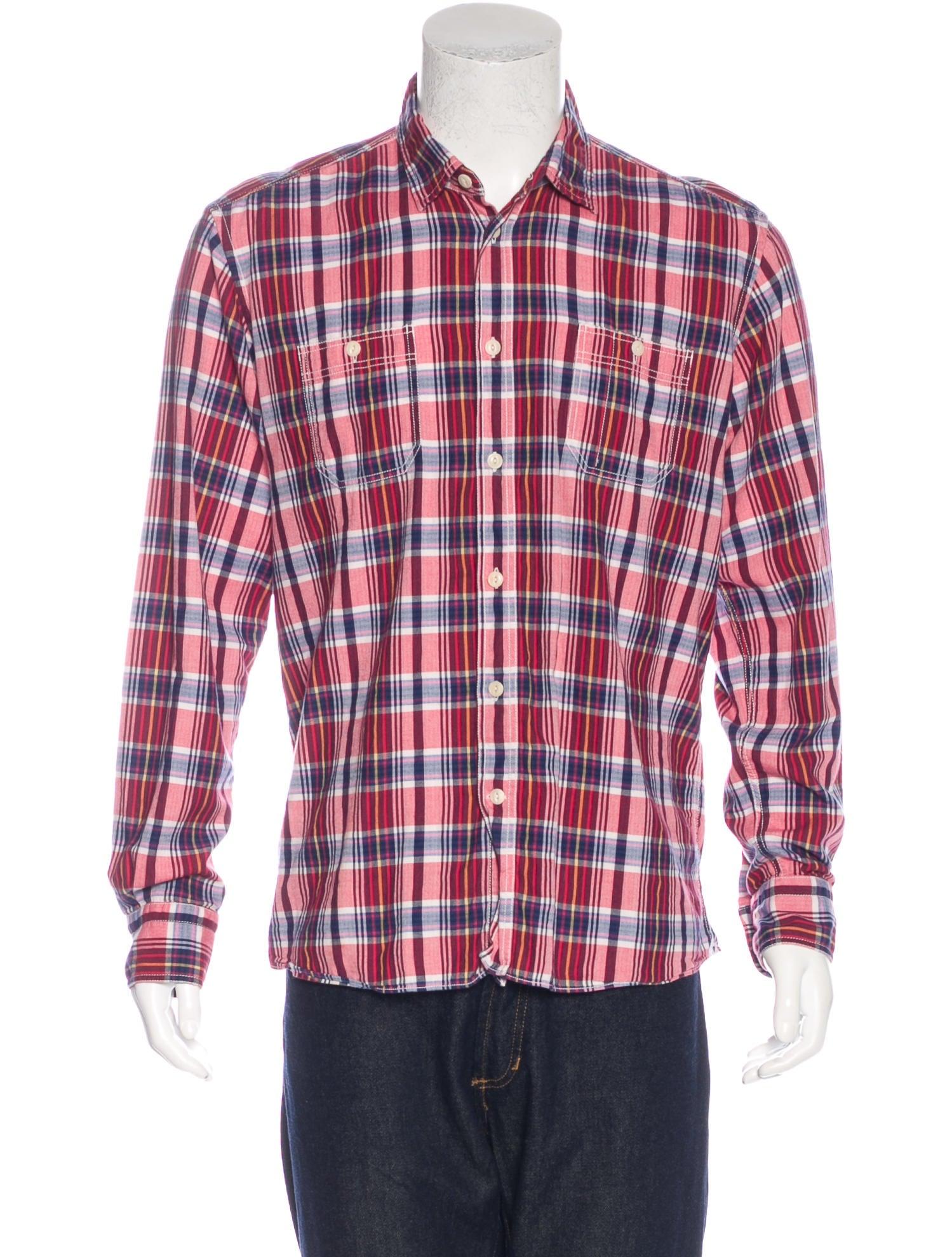 Maison kitsun plaid flannel shirt clothing w1k20595 for Mens yellow plaid flannel shirt