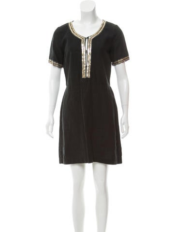 Embellished Linen Dress w/ Tags