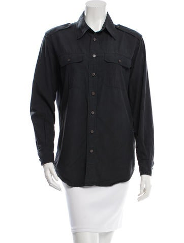 BLK DNM Long Sleeve Button-Up Top