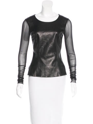 BLK DNM Leather-Paneled Long Sleeve Top None