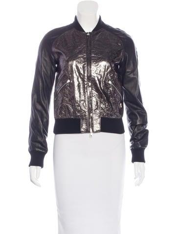 Pierre Balmain Leather Bomber Jacket None