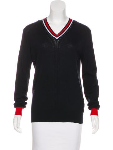 Pierre Balmain Striped V-Neck Sweater None